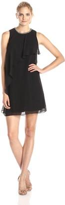 SL Fashions Women's Chiffon Cascade Overlay Shift Dress