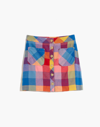 Madewell Patch Pocket Mini Skirt in Rainbow Checks