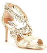 Badgley Mischka Grammy II Metallic Jeweled Dress Sandals
