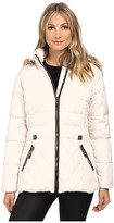 Larry Levine Short Hooded Down with Faux Leather Trim