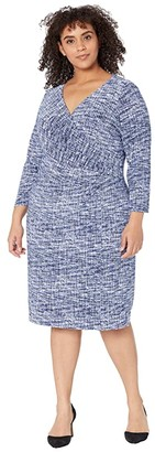 Lauren Ralph Lauren Plus Size Cleora Long Sleeve Day Dress (Black/Blue/Multi) Women's Dress