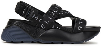 Stella McCartney Monogram-trimmed Leather Exaggerated-sole Sandals
