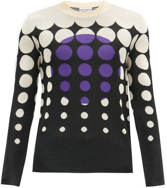 Paco Rabanne Sunset Dot-jacquard Sweater - Black Purple