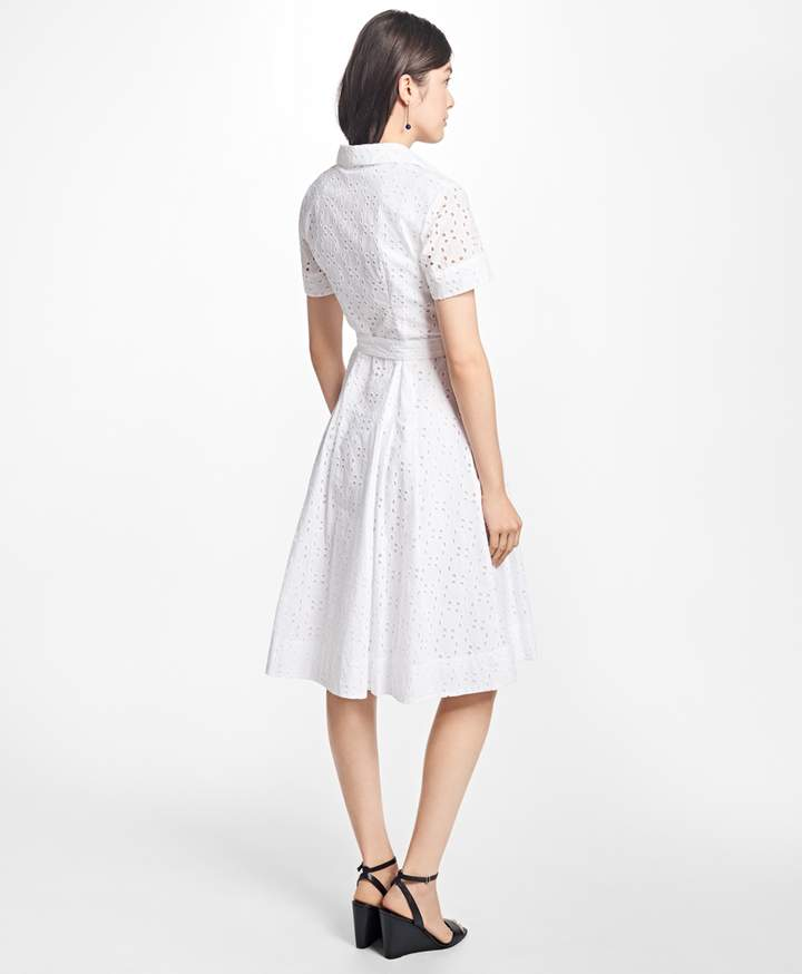 Brooks Brothers Cotton Eyelet Shirt Dress
