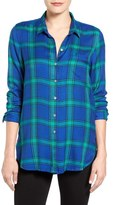Lucky Brand Side Button Plaid Top