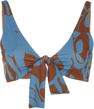 Johanna Ortiz Exclusive Tangled Up In Blue Printed Bikini Top Size: 0