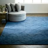 Carved Triangles Wool Rug - Midnight