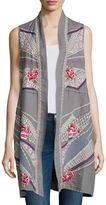 Johnny Was Sabine Long Embroidered Linen Open Vest