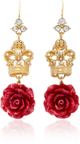 Dolce & Gabbana Crown And Rose Gold-Plated Crystal Earrings