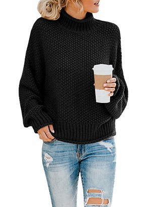 Yidarton Women's Turtleneck Jumpers Casual Batwing Sweaters Long Sleeve Pullover Loose Chunky Knitted Jumper Tops (3261-Black Small)