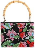 Miu Miu Floral Beaded Canvas Top Handle Bag