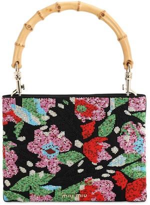Miu Miu Floral Beaded Canvas Top Handle Bag