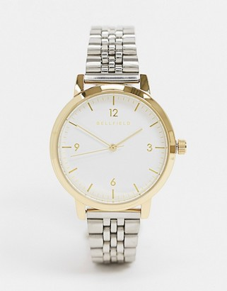 Bellfield two tone silver and gold bracelet watch