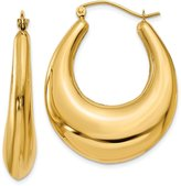 jewelryPot 14k Yellow Gold Polished Hoop Earrings. Length 35mm x Width 27mm.