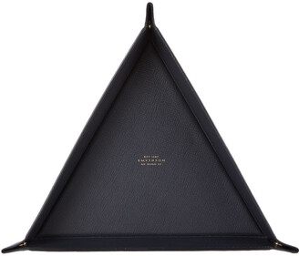 Smythson Navy Large Triangle Panama Trinket Tray