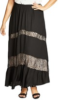 City Chic Romantic Lace Inset Maxi Skirt