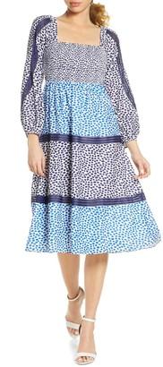 Foxiedox Tessie Mixed Mosaic Long Sleeve Midi Dress