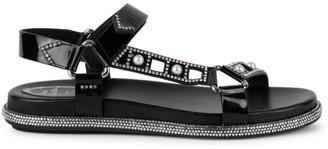 Rene Caovilla Ladyperla Embellished Patent Leather Sport Sandals