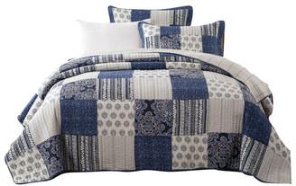 Dada Bedding Collection Bohemian Denim Blue Floral Elegance Patchwork Quilted Coverlet Bedspre