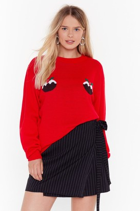 Nasty Gal Womens Proof is in the Pudding Plus Christmas Sweater - Red