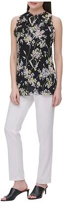 Calvin Klein Printed Ruffle Halter Top (Black Floral Combo) Women's Clothing