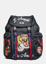 Gucci Men's Zaino Embroidered Patch Canvas Backpack In Black