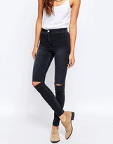 Asos Rivington High Waist Denim Jeggings In Washed Black With Knee Rips