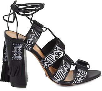 Schutz Primula Embroidered Leather Lace-Up Heeled Sandals