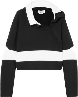 Monse Cropped Cutout Striped Cotton-blend Polo Shirt