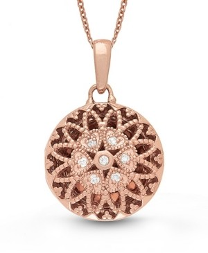 With You Lockets Laney Diamond (1 ct. t.w.) Round Photo Locket Necklace in Rose Gold over Sterling Silver