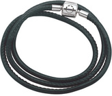 """Zales Persona® Black Leather Triple Wrap Bracelet with Sterling Silver Closure - 22"""""""