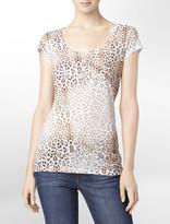 Calvin Klein Leopard Print Burnout Logo T-Shirt