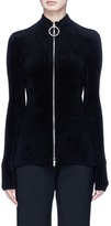 Emilio Pucci Glass crystal embellished O-ring zip chenille cardigan