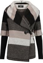 Line Blossom Striped Wool-Blend Felt Coat