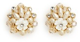 Miriam Haskell Layered filigree floral pearl crystal stud earrings
