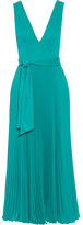 Alice + Olivia Ryan Pleated Crepon Dress - Turquoise