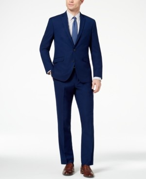 Kenneth Cole Reaction Men's Big and Tall Ready Flex Slim-Fit Stretch Modern Blue Solid Suit
