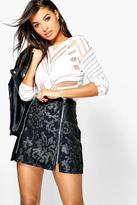 boohoo Boutique Naomi Zip Detail PU Applique Skirt
