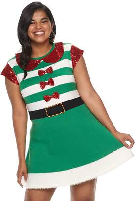 It's Our Time Its Our Time Juniors' Plus Size Christmas Elf Pullover Dress