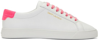 Saint Laurent White and Pink Andy Sneakers