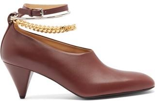 Jil Sander Anklet-chain Leather Cone-heel Pumps - Burgundy