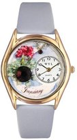 Whimsical Watches Women's C0910001 Classic Gold Birthstone: January Baby Blue Leather And Goldtone Watch