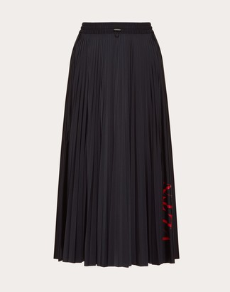 Valentino Vltn Pleated Jersey Skirt Women Black/ Red L