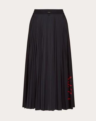 Valentino Vltn Pleated Jersey Skirt Women Black/ Red M