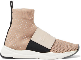Balmain Cameron Logo-embossed Leather And Studded Stretch-knit Slip-on Sneakers