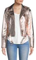 True Religion Rose Gold Leather Jacket