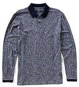 Stone Rose Paisley Print Long-Sleeve Polo Shirt