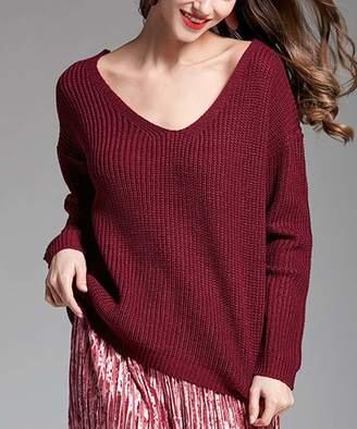 Belle De Jour Belle de Jour Women's Pullover Sweaters RED - Red Laced-Back Ribbed V-Neck Sweater - Women
