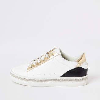 River Island White diamante embellished lace-up trainers