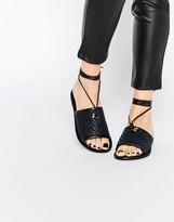 Asos FETCH Leather Tie Leg Sandals